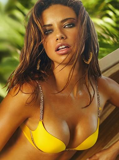 Adriana wearing a hot yellow bra
